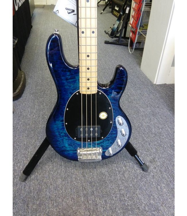 Sterling By Music Man Sterling StingRay 34QM Quilted Maple 4-String Bass Neptune Blue