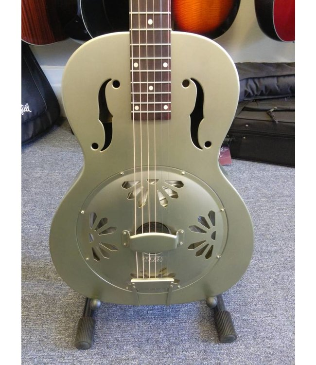 GRETCH G9201 Honey Dipper Round-Neck Brass Body Biscuit Cone Resonator Guitar 2018 Shed Roof