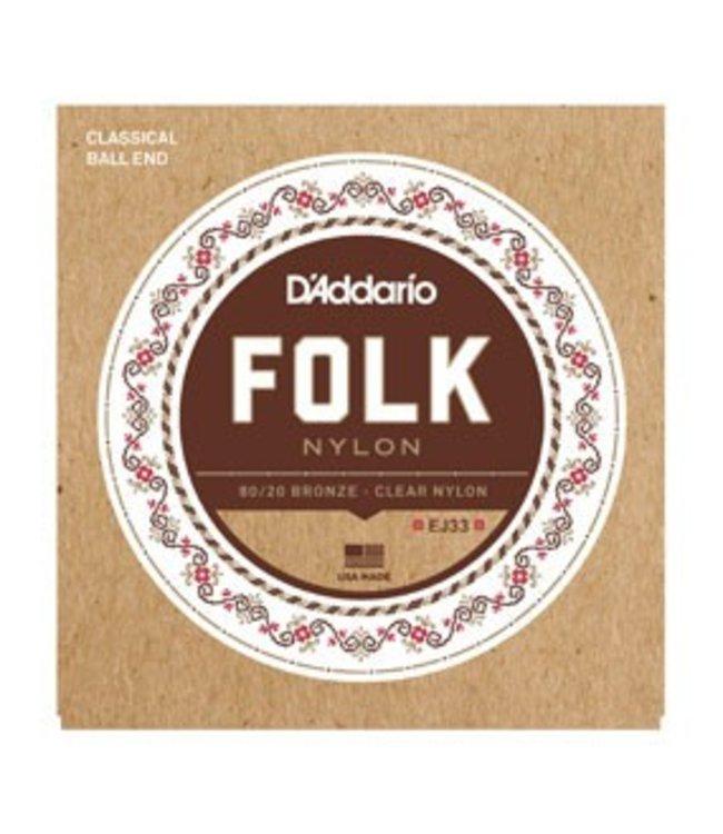 D'ADDARIO EJ33 Folk Nylon, Ball End, 80/20 Bronze/Clear Nylon Trebles