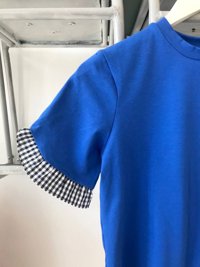 Cobalt Tee With Gingham Ruffle