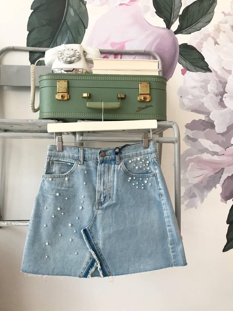 PERLA Pearl Embellished Skirt