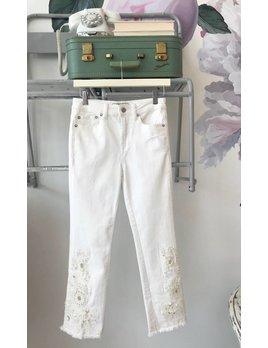 White Cutwork Cigarette Jeans