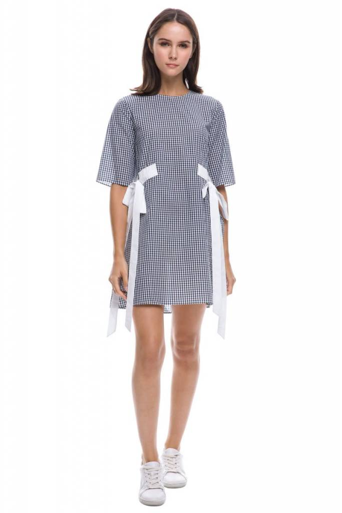 Gingham Half Sleeve Dress With Tie Detail