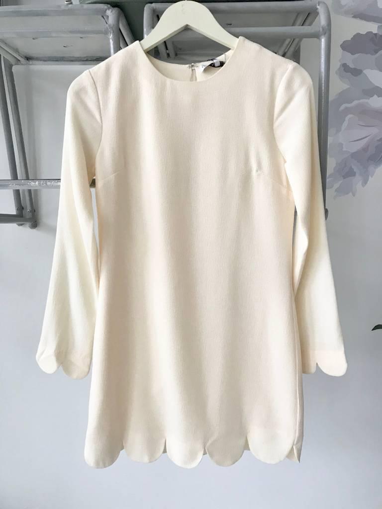 Ivory Long Sleeve Scalloped Dress