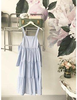 Blue Striped Cold Shoulder Midi Dress
