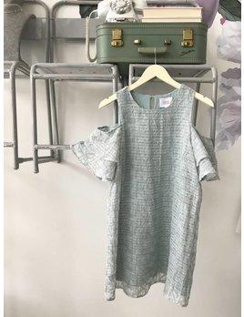 Mint Cold Shoulder Textured Dress