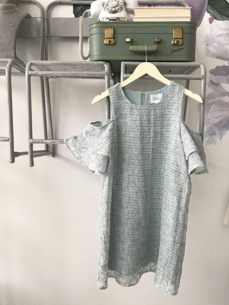 Mint Cold Shoulder Textured Dress