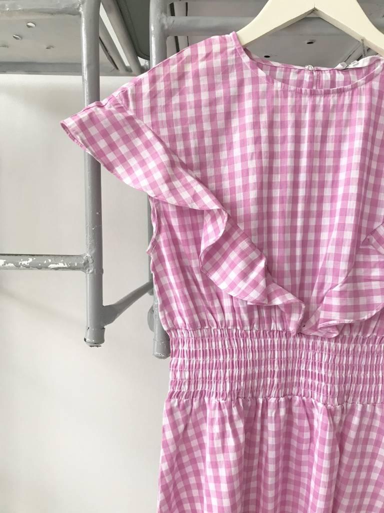 Gingham Ruffle Dress With Smocked Waist