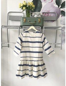 Long Sleeve Dropwaist Dress- Oatmeal & Navy