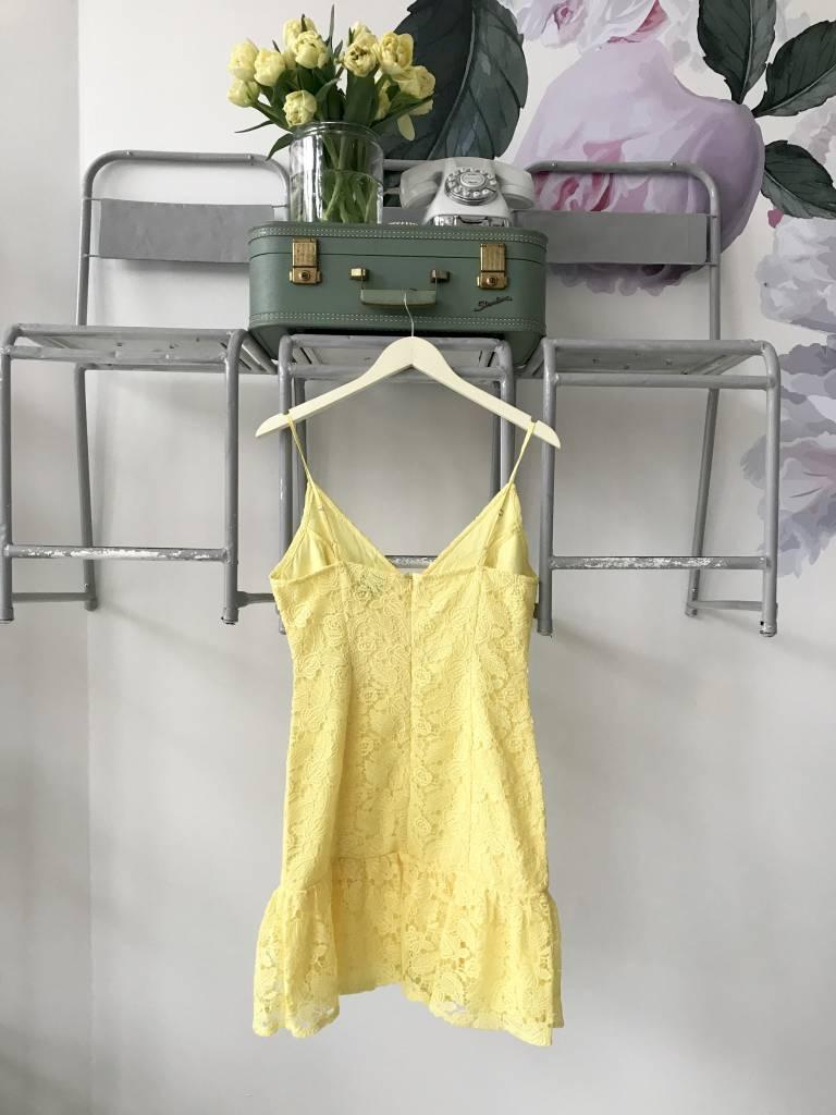 Yellow Lace Dropwaist Tank Dress