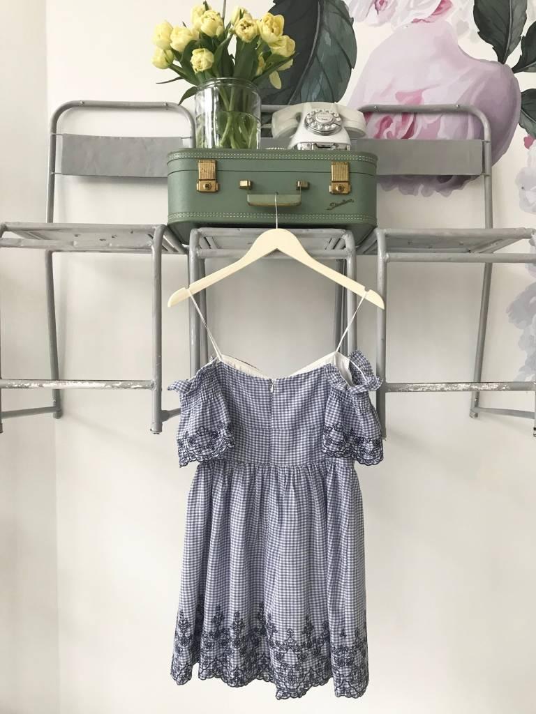 Blue Gingham Off The Shoulder Dress