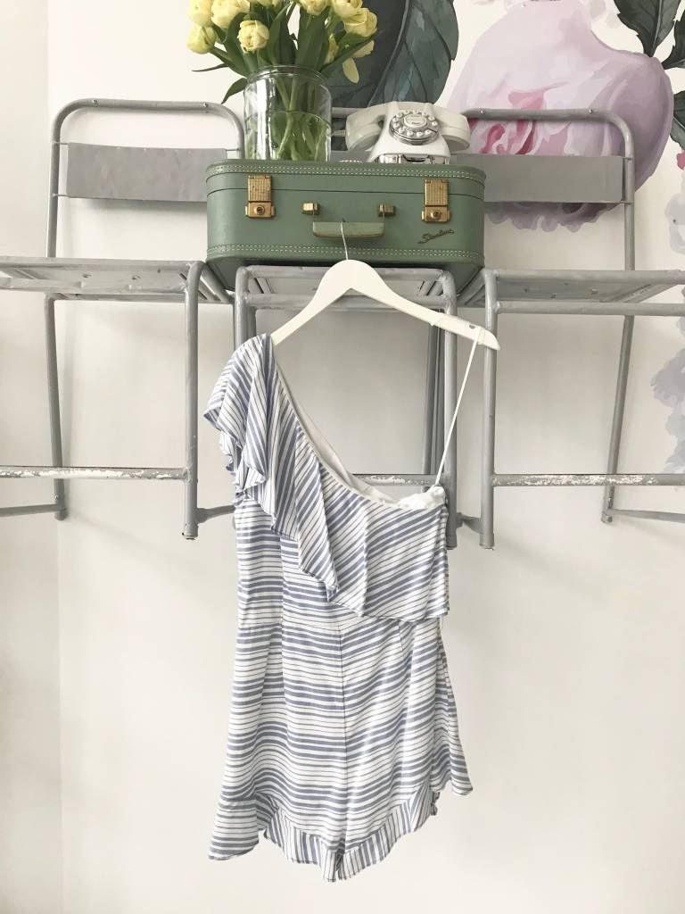 Light Blue Striped One Shoulder Romper