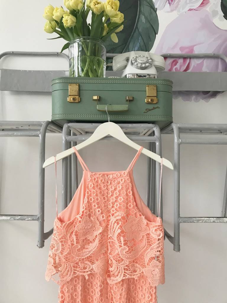 Peachy Keen Lace Overlay Dress