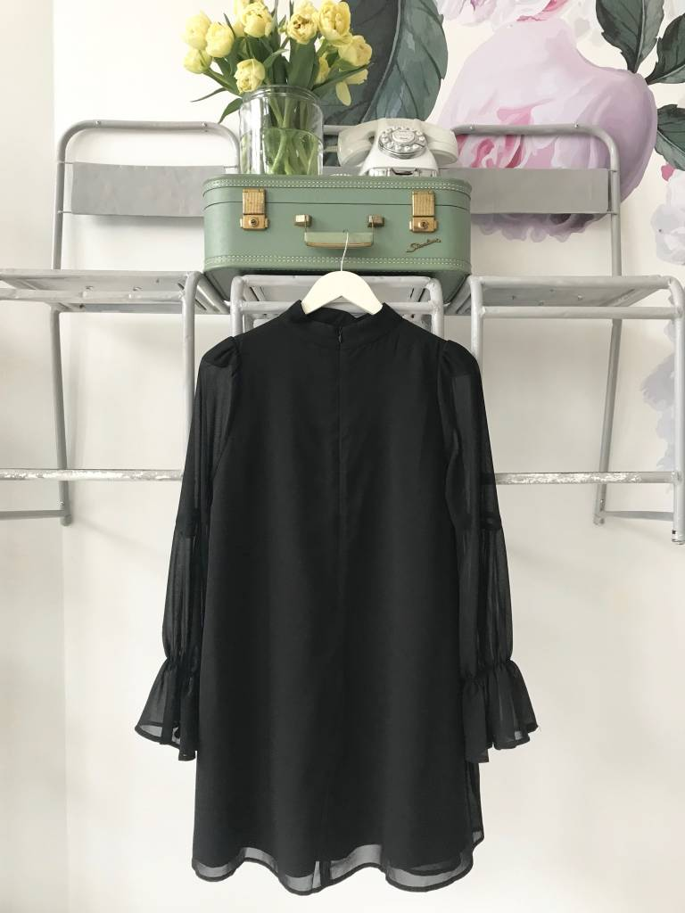 Cinched Sleeve Band Neck Dress