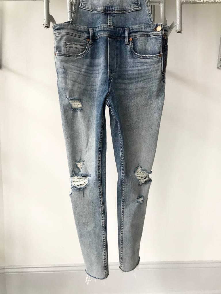 Slim Leg Distressed Denim Overalls