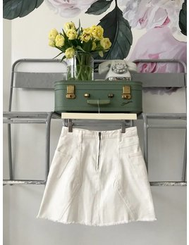 Paneled White Denim Skirt