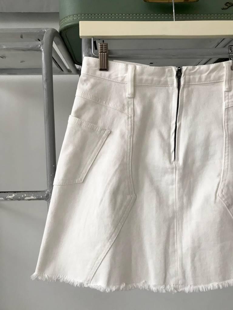 Paneled White Denim Skirt