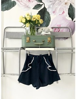 Navy Ruffled Pocket Shorts