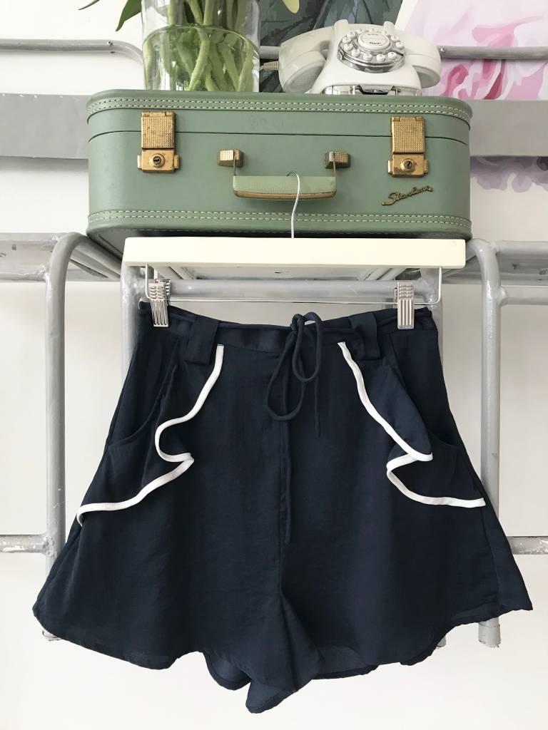 Navy Ruffled Pocket Shorts