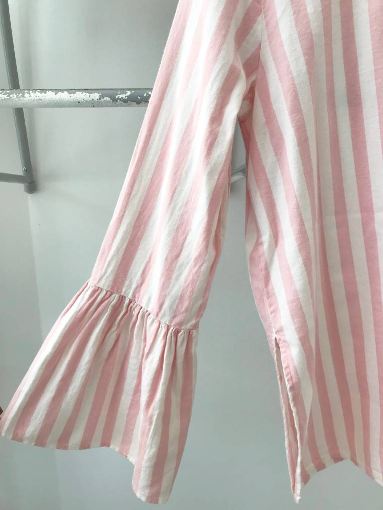 BESSIE Pink Stripe Bell Slv Top
