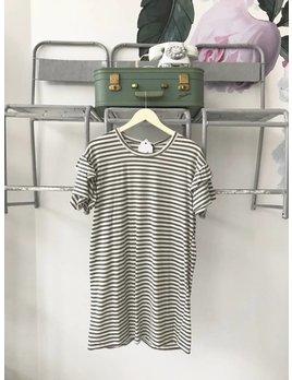 Tiered Sleeve Striped Jersey Dress
