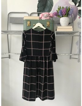 Black & Rose Check Midi Dress
