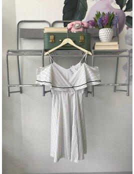Black & White Cold Shoulder Midi Wrap Dress