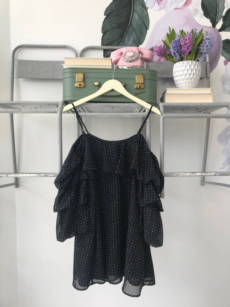 Black Polka Dot Tiered Sleeve Dress