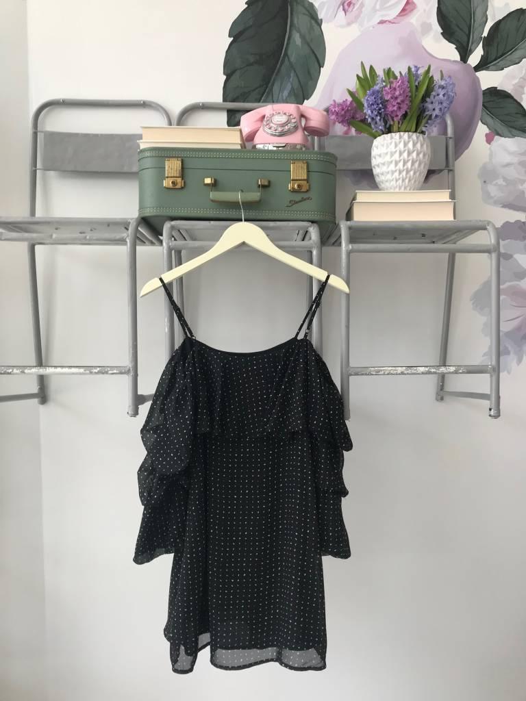 Black Polka Dot Tiered Sleeve Dress
