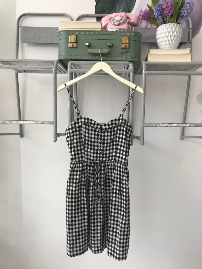 Gingham Corset Tied Tank Dress