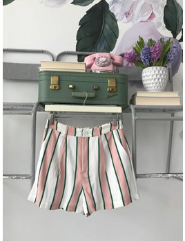 Pink & Emerald Striped Shorts