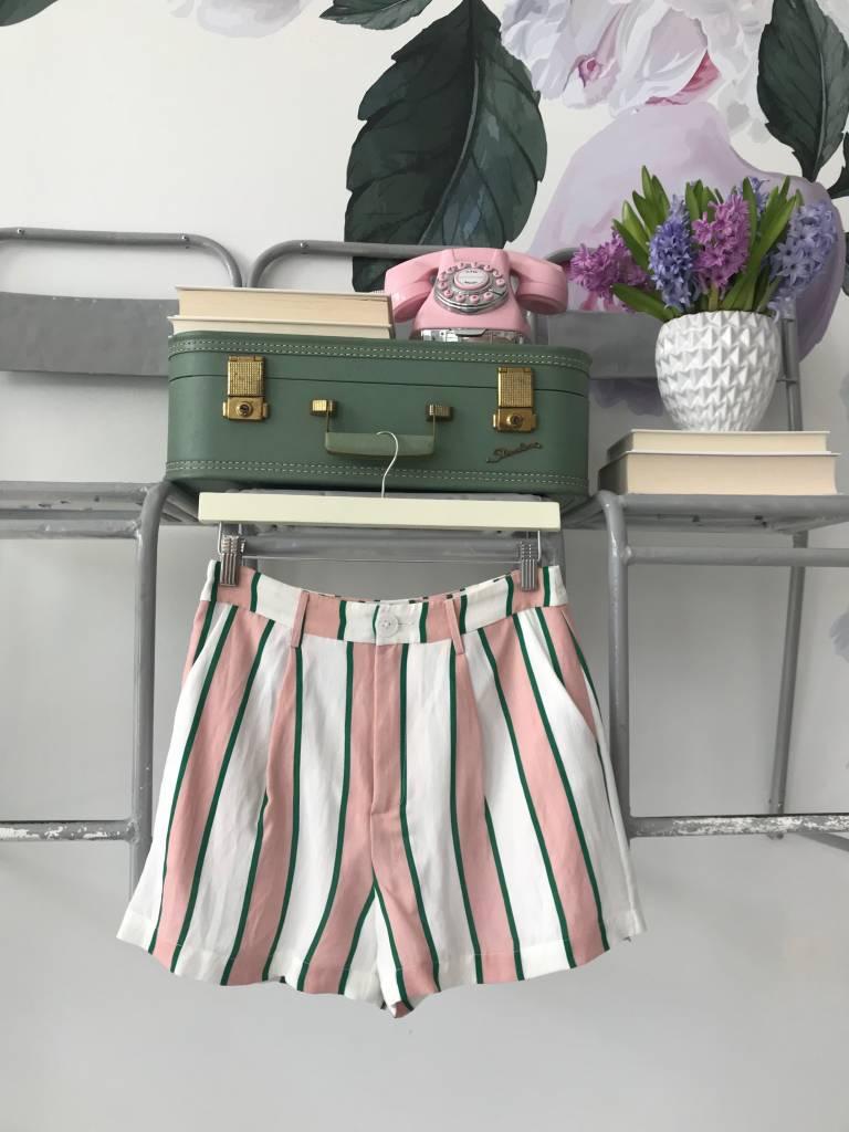 Pink & Emerald Striped Shorts