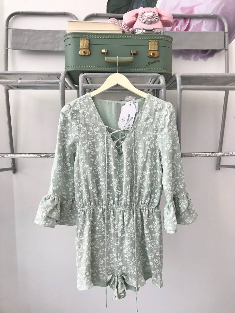 Mint Embroidered Floral Romper