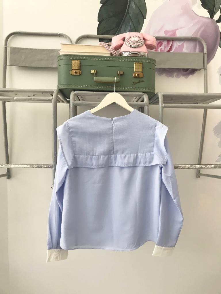 Powder Blue Long Sleeve Blouse