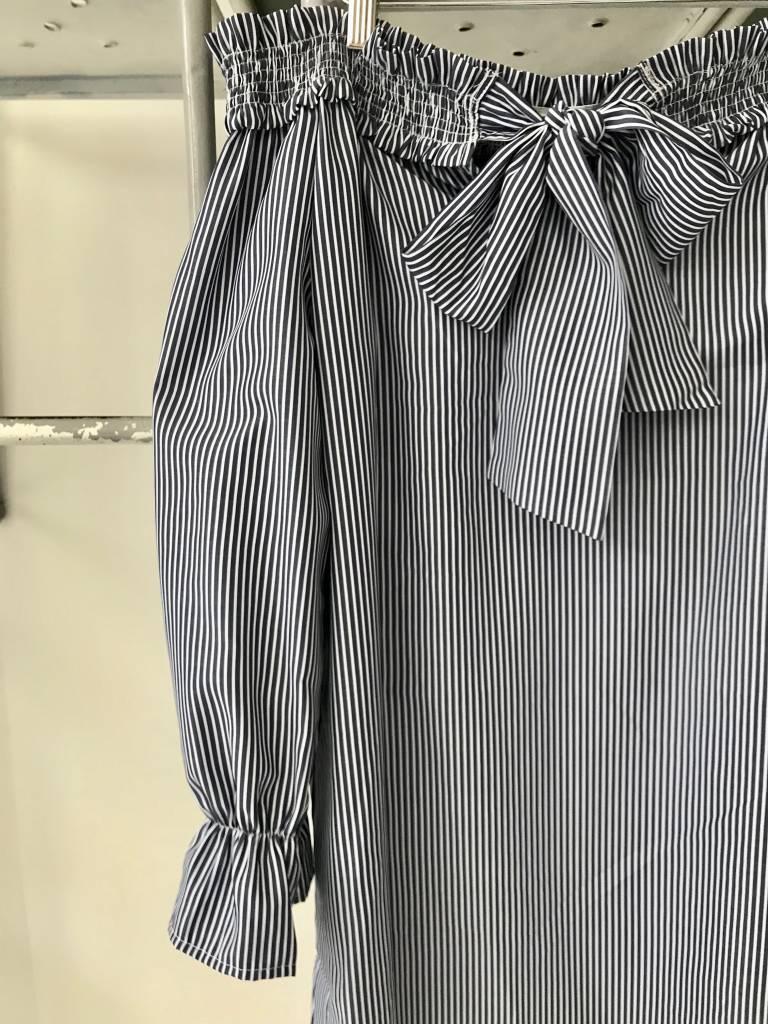 Striped OTS Dress W/ Tie Front