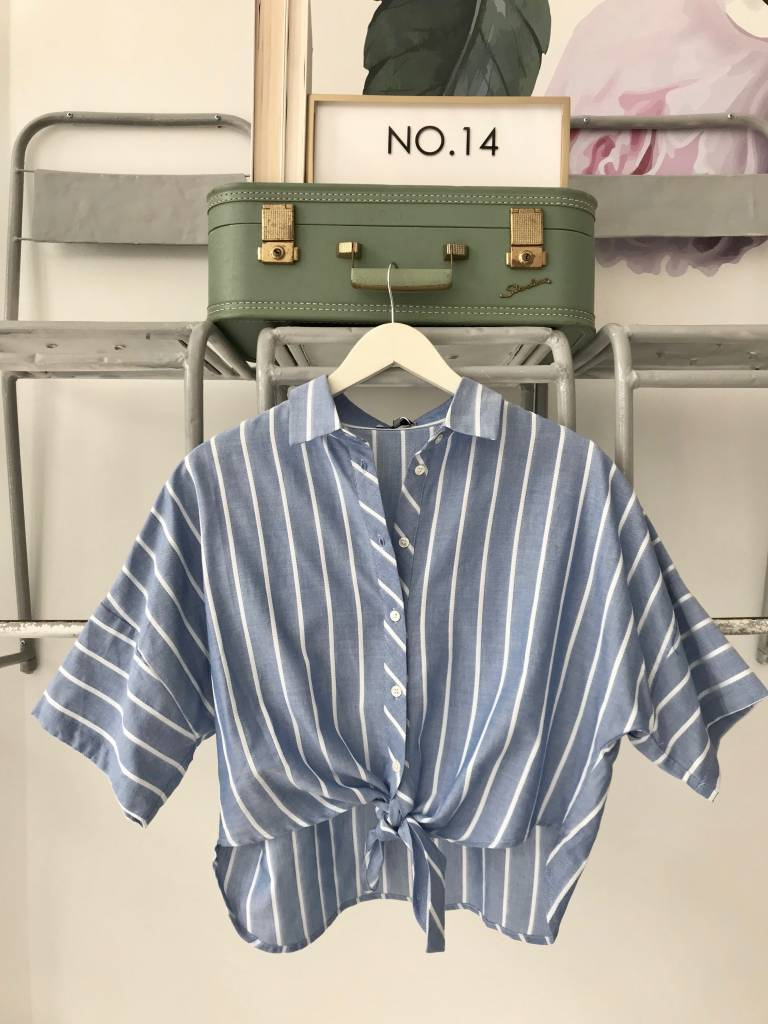 Blue & White Striped Tie Front Top