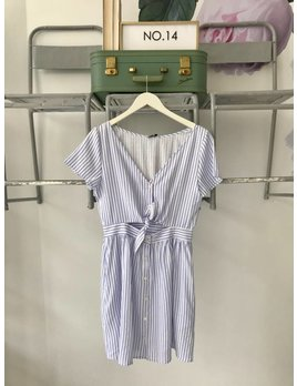 Striped Tie Front S/S Dress