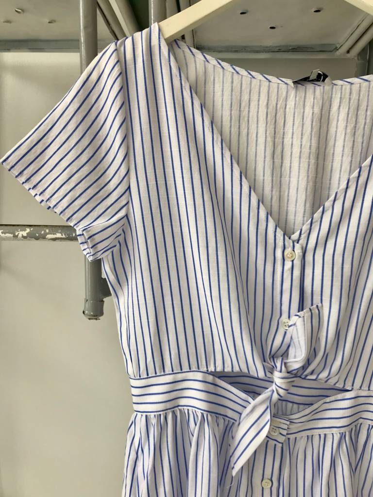 Striped Tie Front S/S Dress