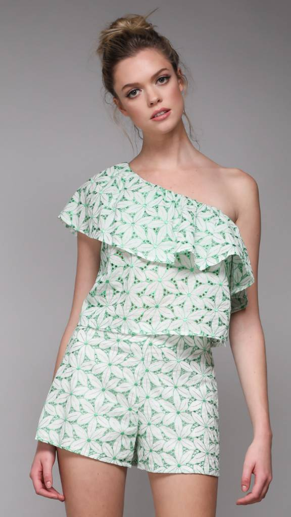 One Shoulder Embroidered Top LIME