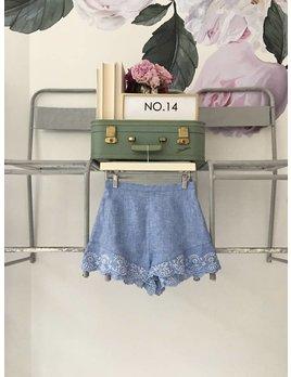 LANGLEY Chambray & Lace Shorts