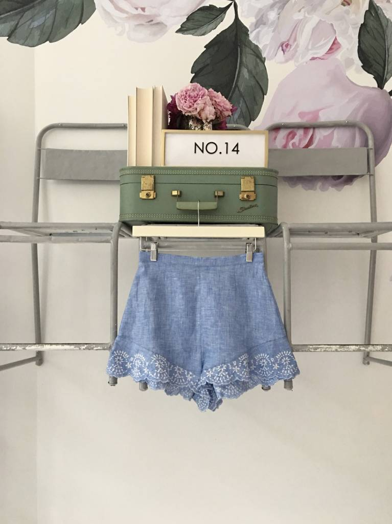 LANGLEY Chambray & Lace Shorts