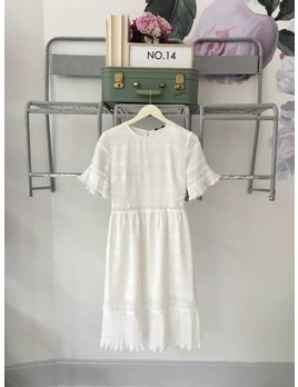 White Short Sleeve Pleated Midi Dress