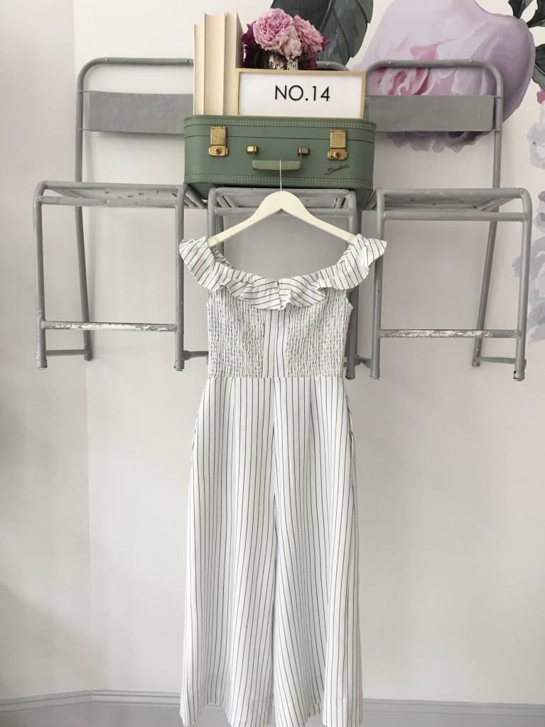 Striped Ruffled OTS Jumpsuit