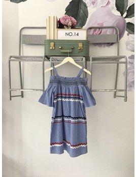 OTS Striped & Gingham Dress Blue & Red