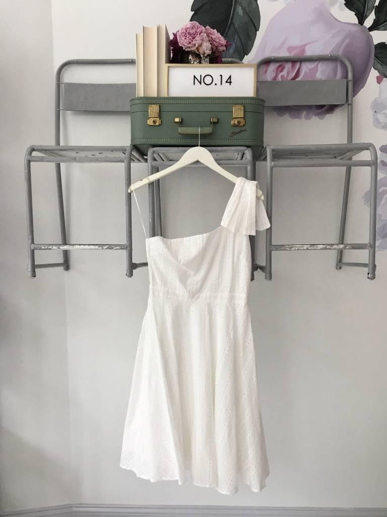 ALLISON White Eyelet One Shoulder Dress