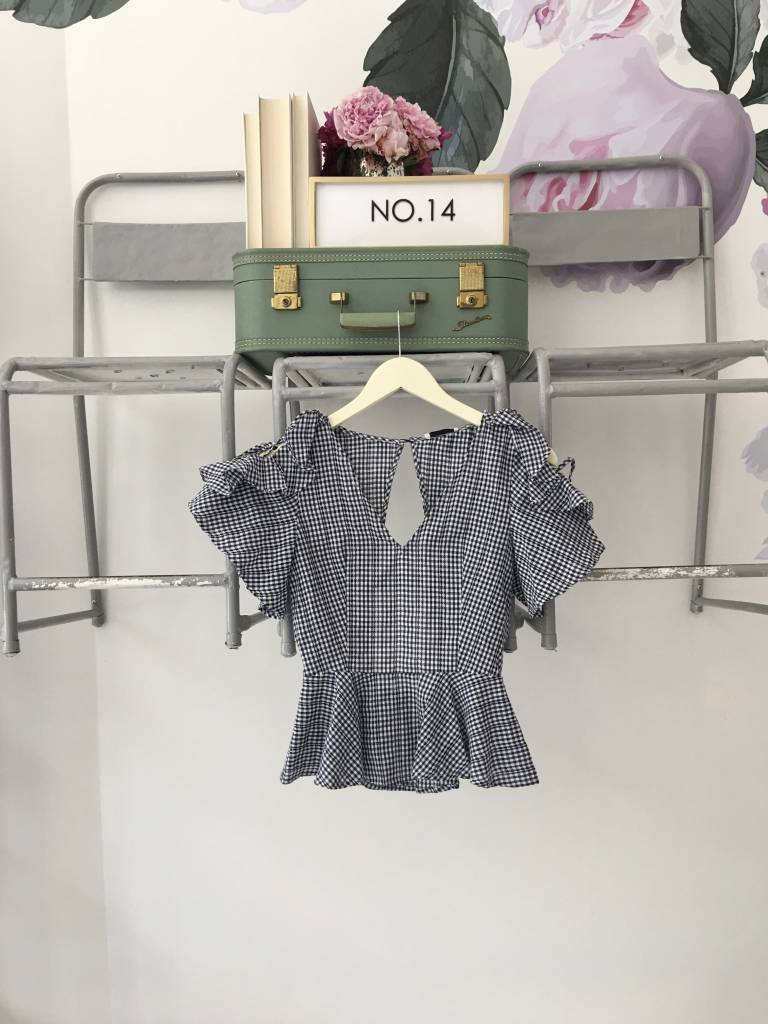 Navy Gingham Top W. Cutout Back