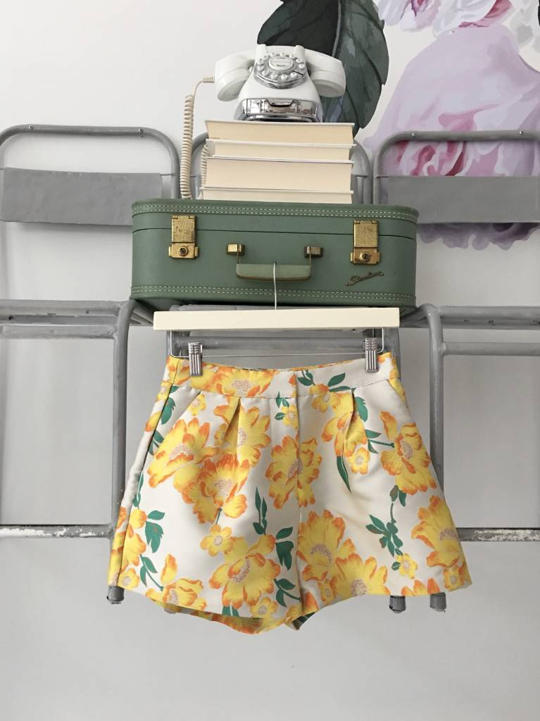 Yellow Floral Brocade Shorts