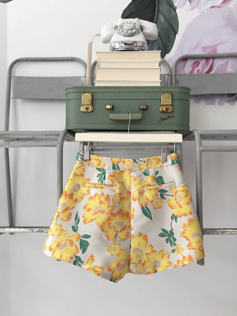 Yellow Floral Brocade Shorts
