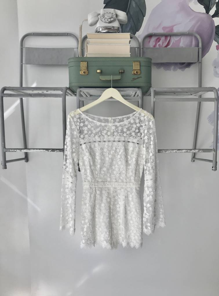 BETSY Long Sleeve Lace Romper WHITE