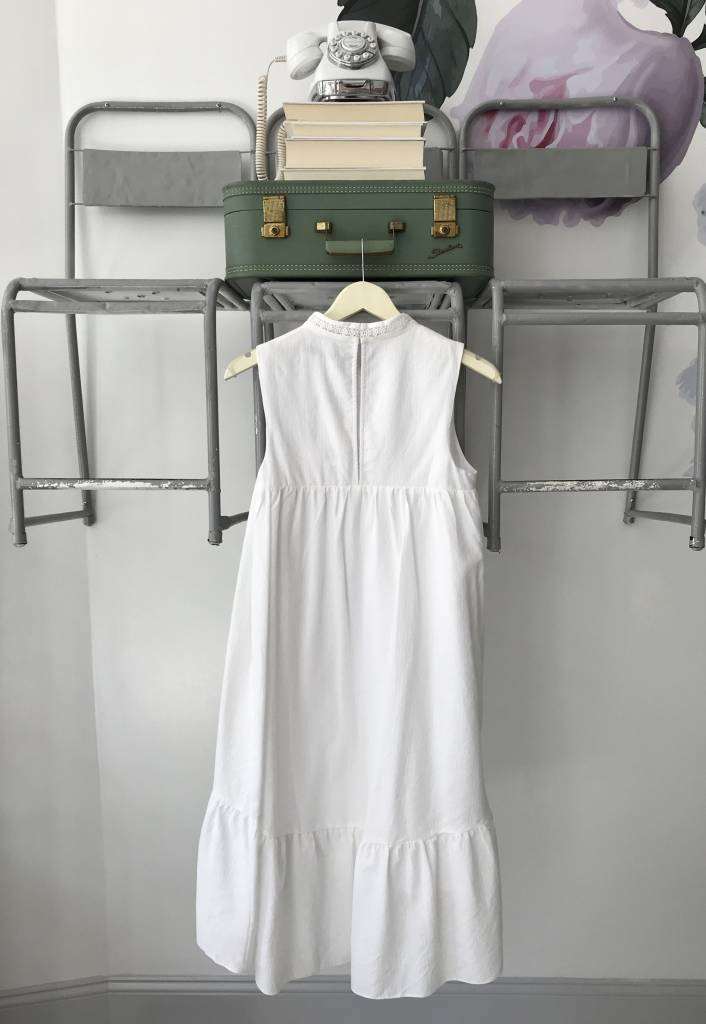 High Low Shirred Midi Dress WHITE